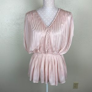 Elizabeth and James Pleated Satin Top Sz S